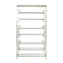 "8 Shelf Leaf Etagere With Glass Shelves. Top- Bottom and Inset Shelves Are 9""h- Two Central Shelves Are 11.5""H."