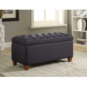 Tufted Navy Storage Bench Product Image