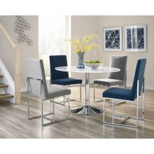 Modern White and Chrome Dining Table