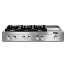 """Pro-Style® 48"""" Gas Rangetop with Griddle Stainless Steel"""