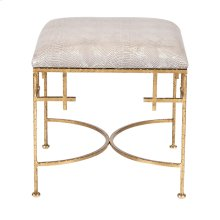 Hammered Gold Leaf Stool W. Faux Snakeskin Upholstered Top.
