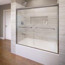 Euro Frameless Sliding Tub Shower Doors - Brushed Nickel