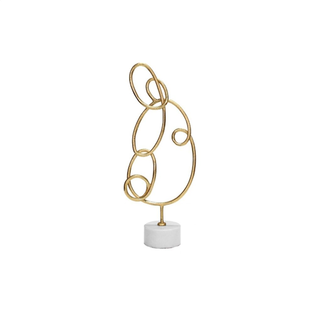 Abstract Doodle Sculpture With White Marble Base In Gold