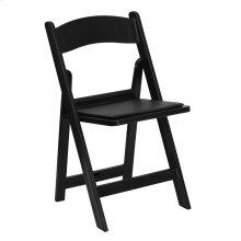 1000 lb. Capacity Black Resin Folding Chair with Black Vinyl Padded Seat