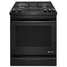 "Black Floating Glass 30"" Slide-In Gas Range Black"
