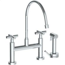 Deck Mounted Bridge Extended Gooseneck Kitchen Faucet With Independent Side Spray