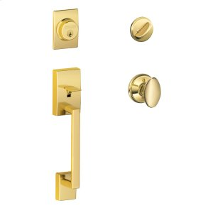 Century Single Cylinder Handleset and Siena Knob - Bright Brass Product Image