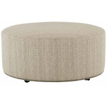Lolo Round Cocktail Ottoman in #44 Antique Nickel