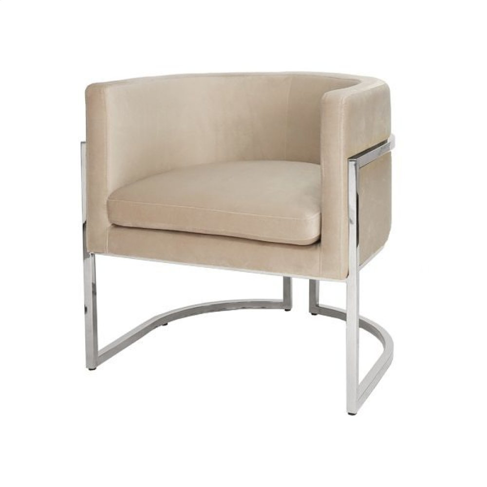 Nickel Frame Barrel Arm Chair In Cream Velvet Seat Heigh 20.5""