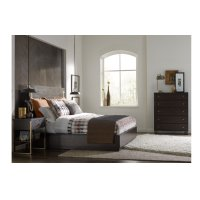 Austin by Rachael Ray Panel Bed w/ Brass Finish Wood Accents Queen 5/0 Product Image