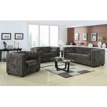 Alexis Charcoal Three-piece Living Room Set