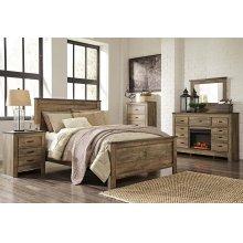 Queen Panel Bedroom Set: Queen Bed, Nightstand, Dresser & Mirror