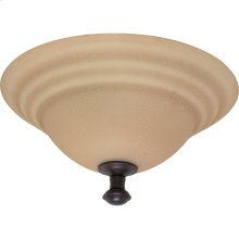 """2-Light 16"""" Flush Mount Dome Lighting Fixture in Old Bronze Finish with Amber Water Glass"""