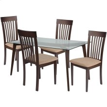 5 Piece Espresso Wood Dining Table Set with Glass Top and Rail Back Wood Dining Chairs - Padded Seats