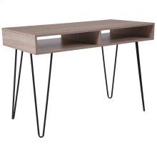 Oak Wood Grain Finish Computer Table with Black Metal Legs