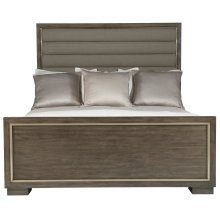 Queen-Sized Profile Panel Bed in Warm Taupe (378)