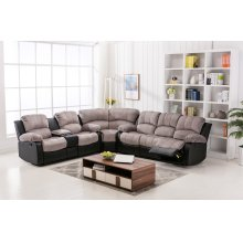 Camilla Two-Tone Champion Gray & Black Reclining Sectional