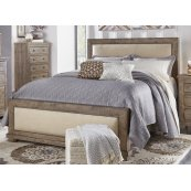 5/0 Queen Upholstered Headboard - Weathered Gray Finish