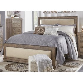 6/6 King Upholstered Bed - Weathered Gray Finish