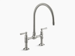 "Brushed Stainless Two-hole Deck-mount Bridge Kitchen Sink Faucet With 10-1/4"" Gooseneck Spout and Lever Handles Product Image"