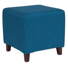 Upholstered Ottoman Pouf in Blue Fabric