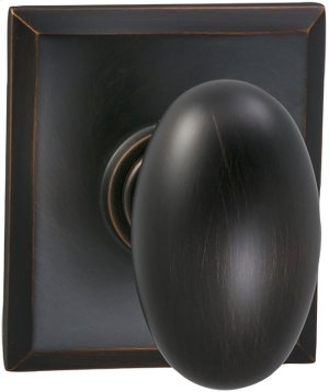 Interior Traditional Egg-shaped Knob Latchset with Rectangular Rose- Solid Brass in (TB Tuscan Bronze, Lacquered) Product Image