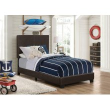 Dorian Brown Faux Leather Upholstered Twin Bed