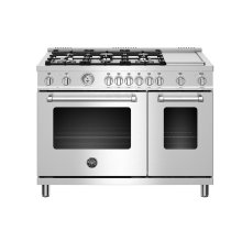 48 inch Dual Fuel Range, 6 burners and Griddle, Electric Oven Stainless Steel