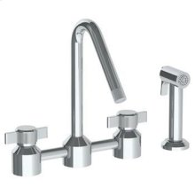 Deck Mounted Bridge Kitchen Faucet With Independent Side Spray