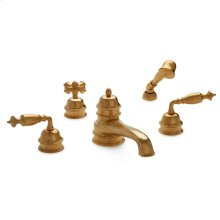 Antique Gold Grey Series Ii Lever Deck Mount Tub Set with Classical Hand Shower