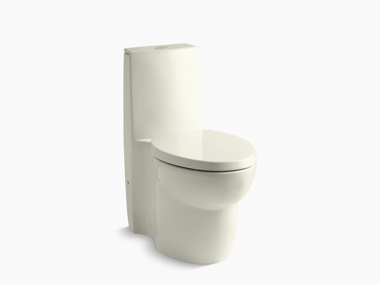 Biscuit Skirted One-piece Elongated Dual-flush Toilet With Top Actuator and Saile Quiet-close Toilet Seat With Quick-release Functionality