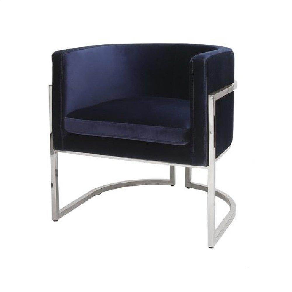 Nickel Frame Barrel Arm Chair In Navy Velvet Seat Heigh 20.5""
