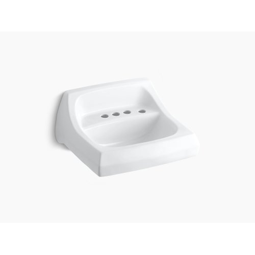 "White 21-1/4"" X 18-1/8"" Wall-mount/concealed Arm Carrier Bathroom Sink With 4"" Centerset Faucet Holes and Right-hand Soap Dispenser Hole"