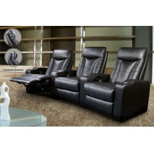 Pavillion Black Leather Three-seated Recliner