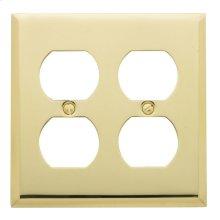 Polished Brass Beveled Edge Double Duplex