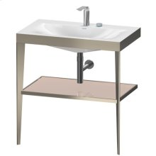 Furniture Washbasin C-bonded With Metal Console Floorstanding, Apricot Pearl High Gloss (lacquer)