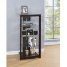 Dark Brown Media Tower With Glass Shelves Product Image