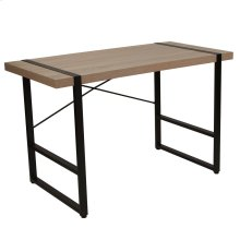Rustic Wood Grain Finish Console Table with Black Metal Frame