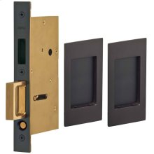 Pair Dummy Pocket Door Lock with Modern Rectangular Trim featuring Mortise Edge Pull in (US10B Black, Oil-Rubbed, Lacquered)