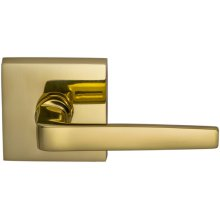Interior Modern Lever Latchset with Square Rose in (US3 Polished Brass, Lacquered)