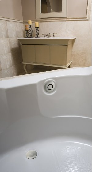 """PushControl Bath Waste and Overflow A simple push Brass - ForeverShine PVD brushed nickel Material - Finish 17"""" - 24"""" Tub Depth* 27"""" Cable Length Product Image"""