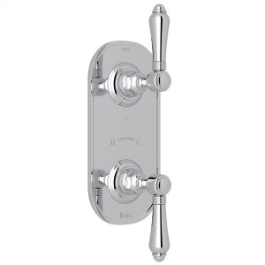 """Polished Chrome Italian Bath 1/2"""" Thermostatic/Diverter Control Trim with Metal Lever Product Image"""