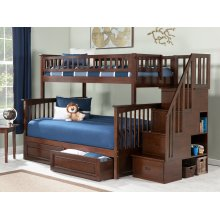 Columbia Staircase Bunk Bed Twin over Full with Raised Panel Bed Drawers in Walnut