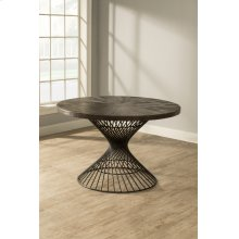 Kanister Round Dining Table - Dark Pewter With Weathered Walnut Top