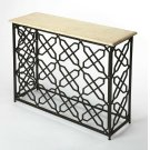 Sometimes the most beautiful piece in the room is the simplest. This anything-but-ordinary stone topped console table is sure to spark conversation as it showcases your collectibles! Narrow iron and stone media console table add drama under your wall moun Product Image