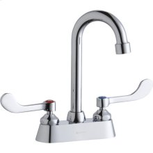 "Elkay 4"" Centerset with Exposed Deck Faucet with 4"" Gooseneck Spout 4"" Wristblade Handles Chrome"