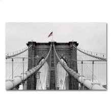 Old Glory and the Bridge 34x49 Print on Metal Wall Art