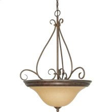 3-Light Hanging Pendant Light Fixture in Sonoma Bronze with Champagne Glass