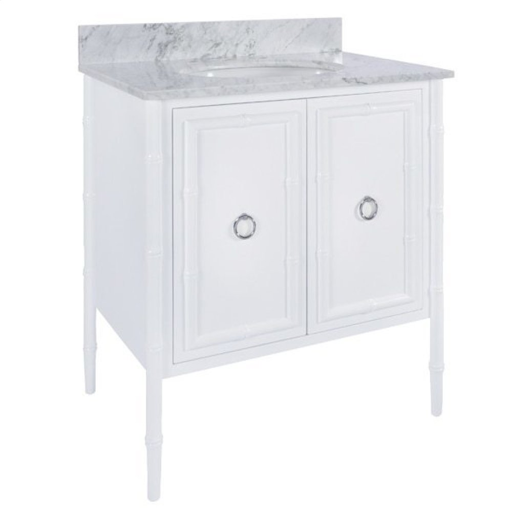 White Lacquer Bath Vanity With Bamboo Detailing & Nickel Hardware
