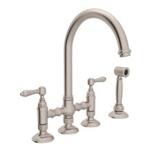 Satin Nickel Italian Kitchen San Julio Deck Mount C-Spout 3 Leg Bridge Kitchen Faucet With Sidespray with Metal Lever